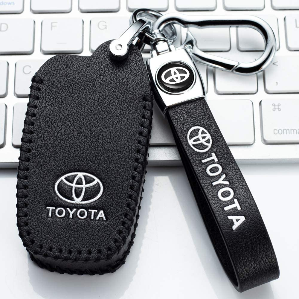 4Buttons Smart key fob holder only for Keyless go Leather Car Key Fod Cover Case Protector Keyless suit for Toyota with 2018-2020 Toyota RAV4 Camry Avalon C-HR Prius Corolla