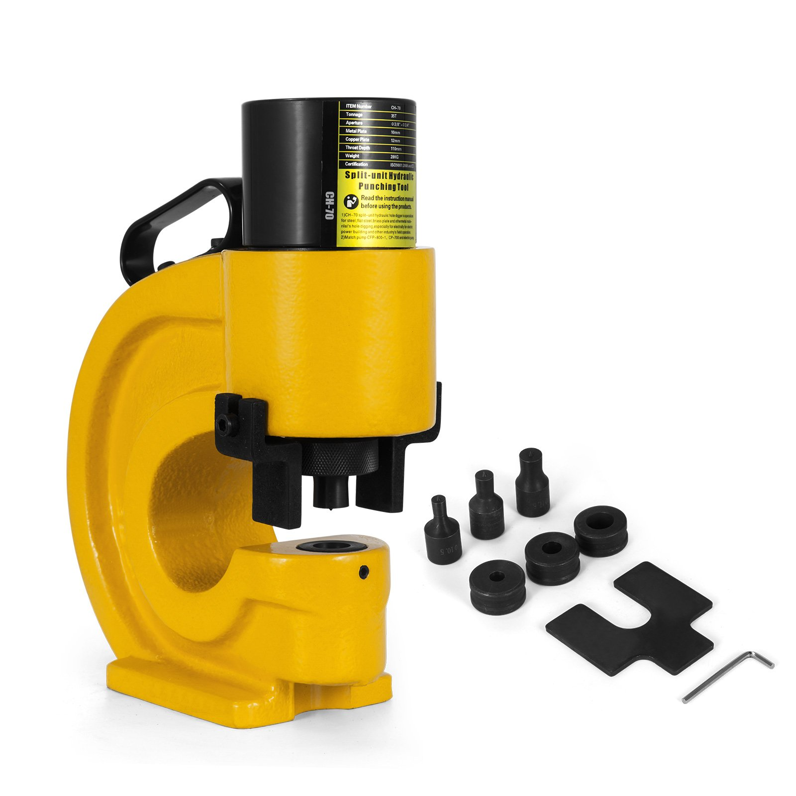 Happybuy CH-70 Hydraulic Hole Punching Tool 35T Hole Digger Force Puncher Smooth Hole Puncher For Iron Plate Copper Bar Aluminum Stainless Steel