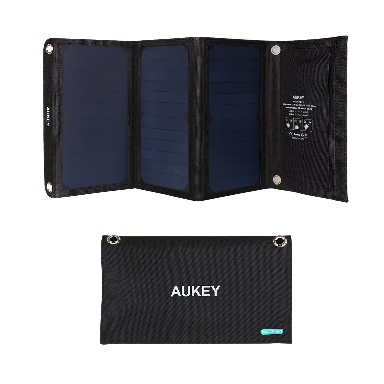 AUKEY 21W Solar Charger with SunPower Solar Panels, Stand, 2 USB Ports for Smartphones by AUKEY