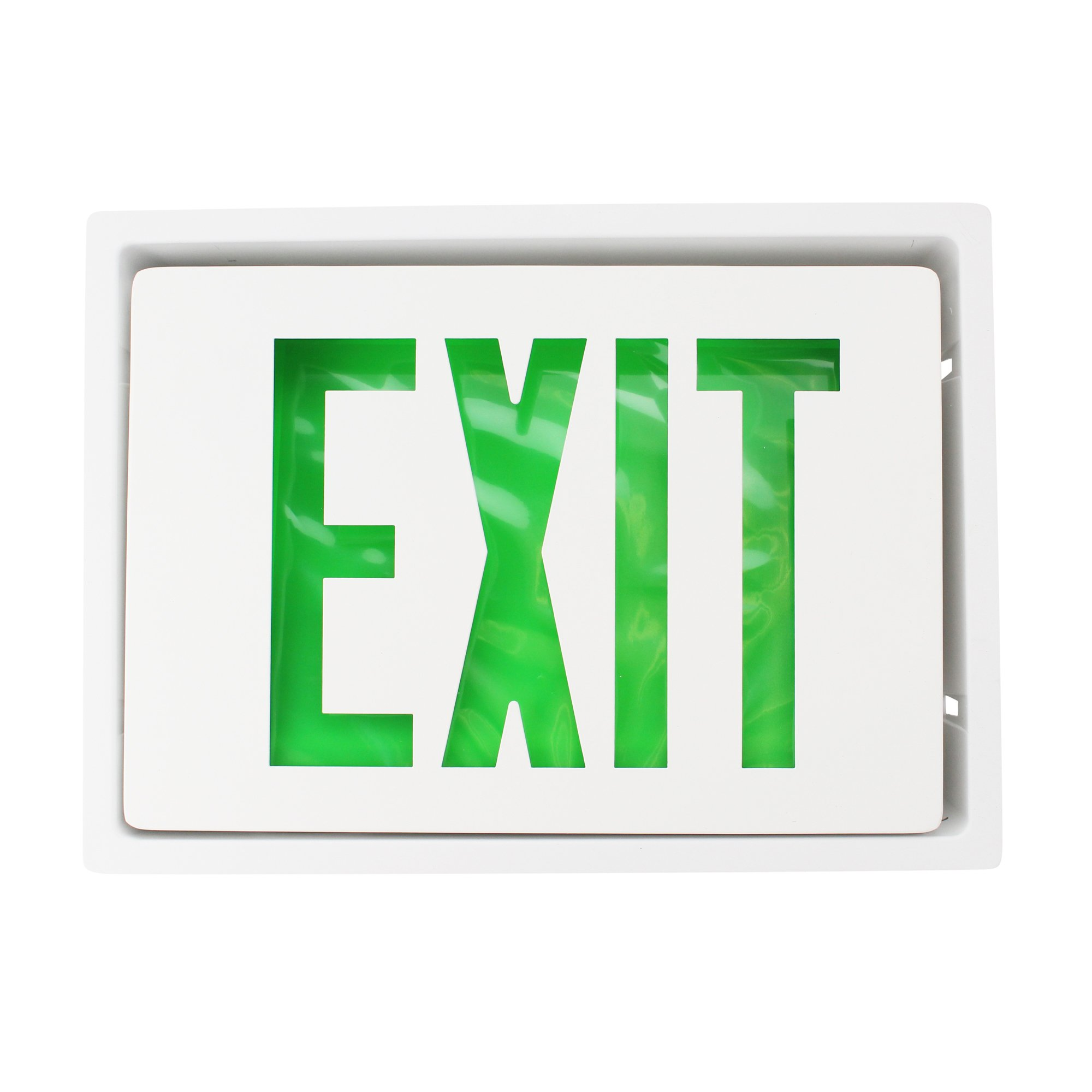 Lithonia Lighting Lre-S-W-I-G-120/277 Die Cast Led Exit Sign, Recessed, White W/Green Letters