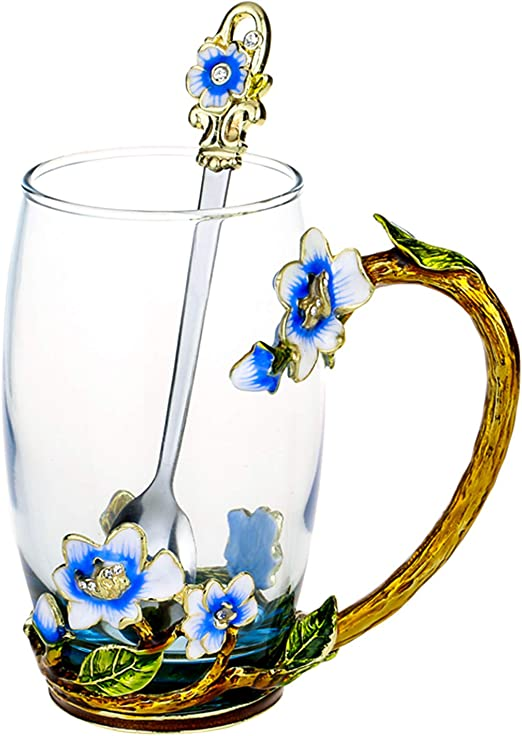 Amazon.com: Glass Tea Cup, Handmade Enamel Clear Glass Coffee Mug with  Handle, Unique Personalized Birthday Gift Ideas for Women Grandma Mom Female  Friend Teachers(Jasmine - Blue - Tall): Kitchen & Dining