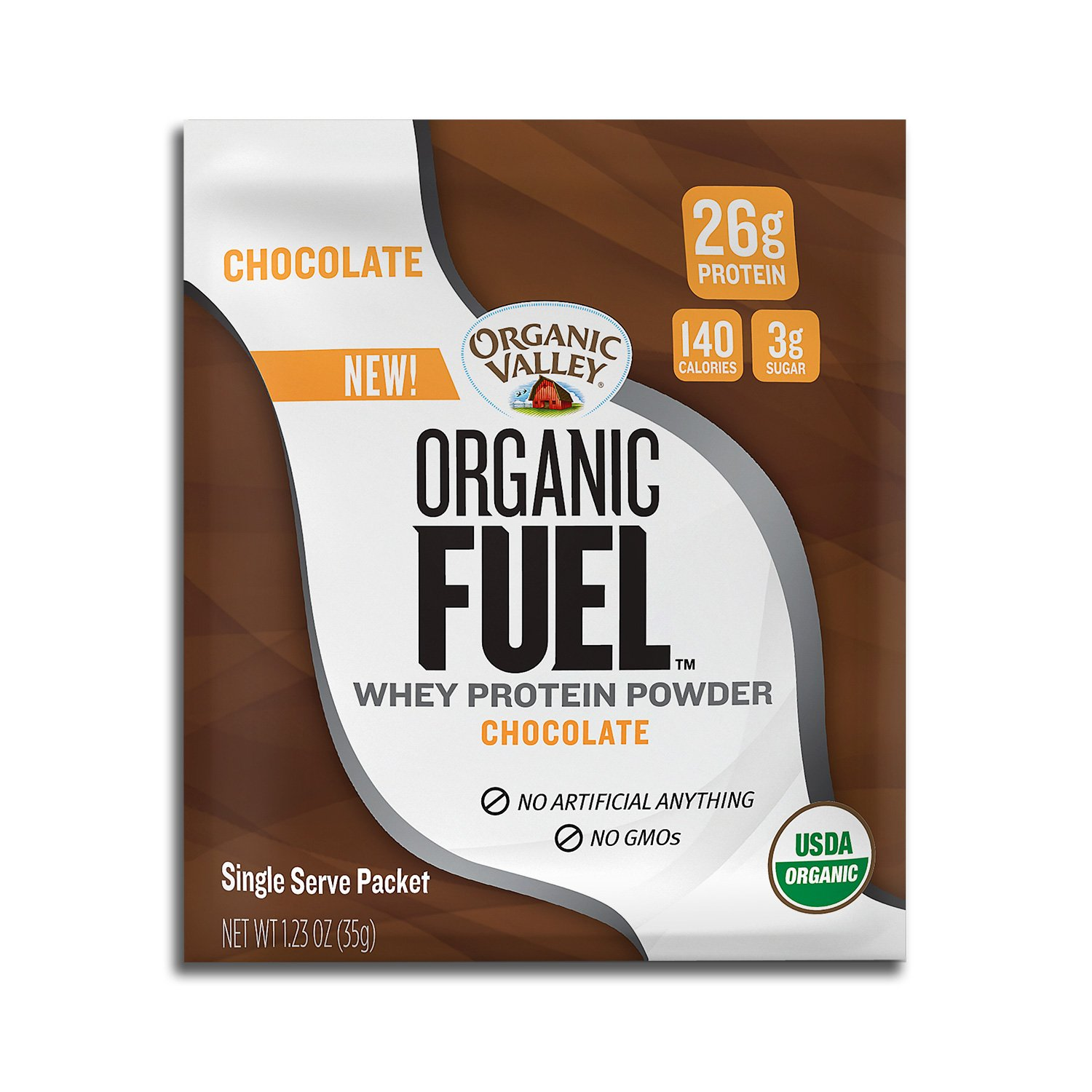 Organic Valley Fuel Whey Protein Powder, Chocolate, 1.23 oz Single Serve Packets, Pack of 12 by Organic Valley
