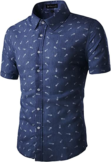 One Nice Men Short Sleeves Fishbone Printed Cotton Chambray Button Down Casual Business Shirt