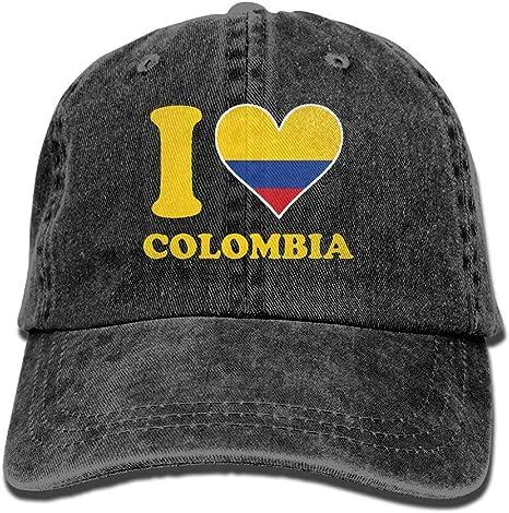 Wdskbg Amo la Bandera de Colombia Unisex Ajustable Gorras de ...
