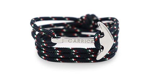 9d17d3aaa6af55 Carrick Bracelets - Bracciale Capri in stile nautico, unisex, regolabile, con  ancora argentata