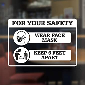 "SmartSign /""Face Mask Required/"" Window Decal Pack of 2 5 x 7 Clear Vinyl with Back Adhesive"