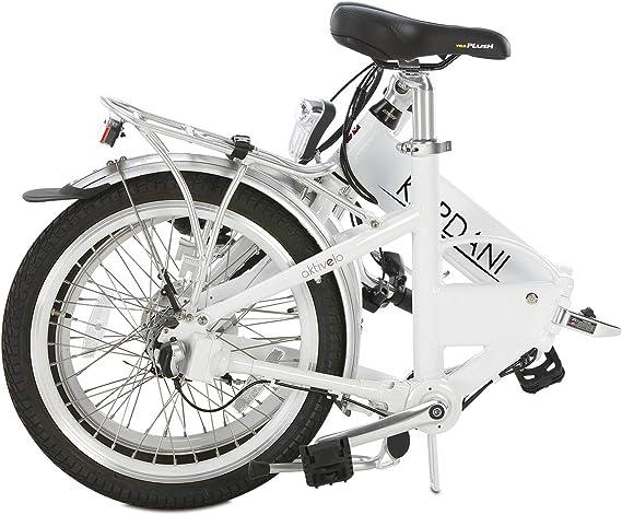 Bicicleta plegable eléctrica Kardani de Aktivelo, con accionamiento cardán, cambio de buje Shimano Nexus de 7 marchas, batería de 8,7 Ah con 9 niveles de apoyo del motor, pantalla LCD y marco