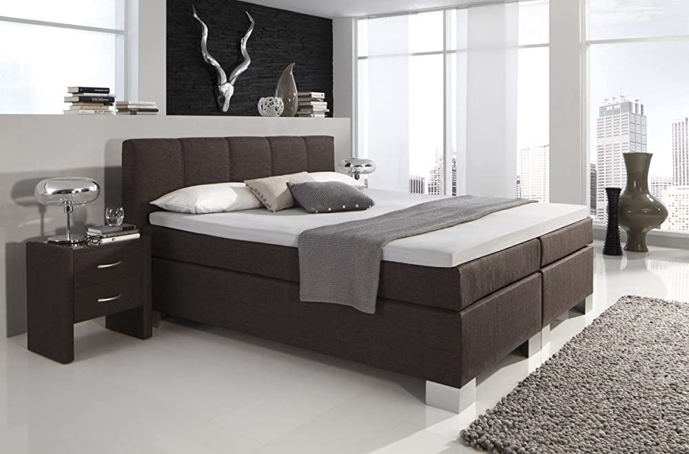 dreams4home boxspringbett manhattan kt1 h rtegrad 3 braun 100 140 160 180 200x200cm 100. Black Bedroom Furniture Sets. Home Design Ideas