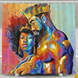 EVERMARKET Bathroom Shower Curtain,King African American Lovers Couple Colorful Painting Bath Curtain Liner,Durable Fabric Bathroom Décor Accessories Set with 12 Hooks 72x72 Inch