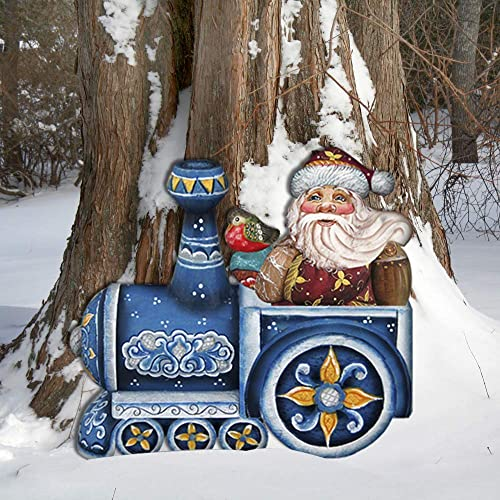 Amazon Com Outdoor Christmas Decor Santa On A Train Yard Art