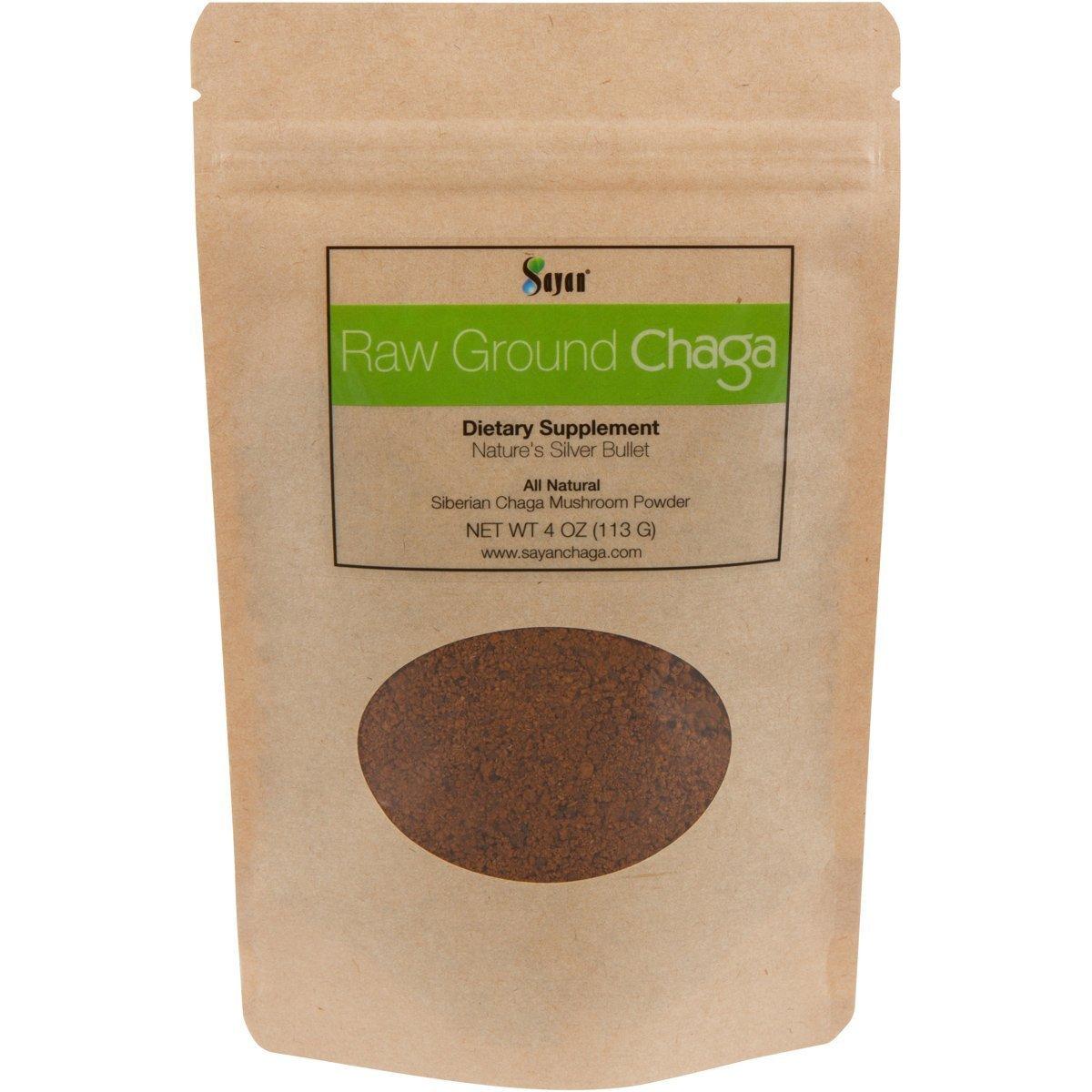 Sayan Siberian Raw Ground Chaga Powder 4 Oz (113g)   Wild Forest Mushroom Tea   Powerful Adaptogen Antioxidant Supplement   Support for Immune System, Digestive Health and Helps Inflammation Reduction