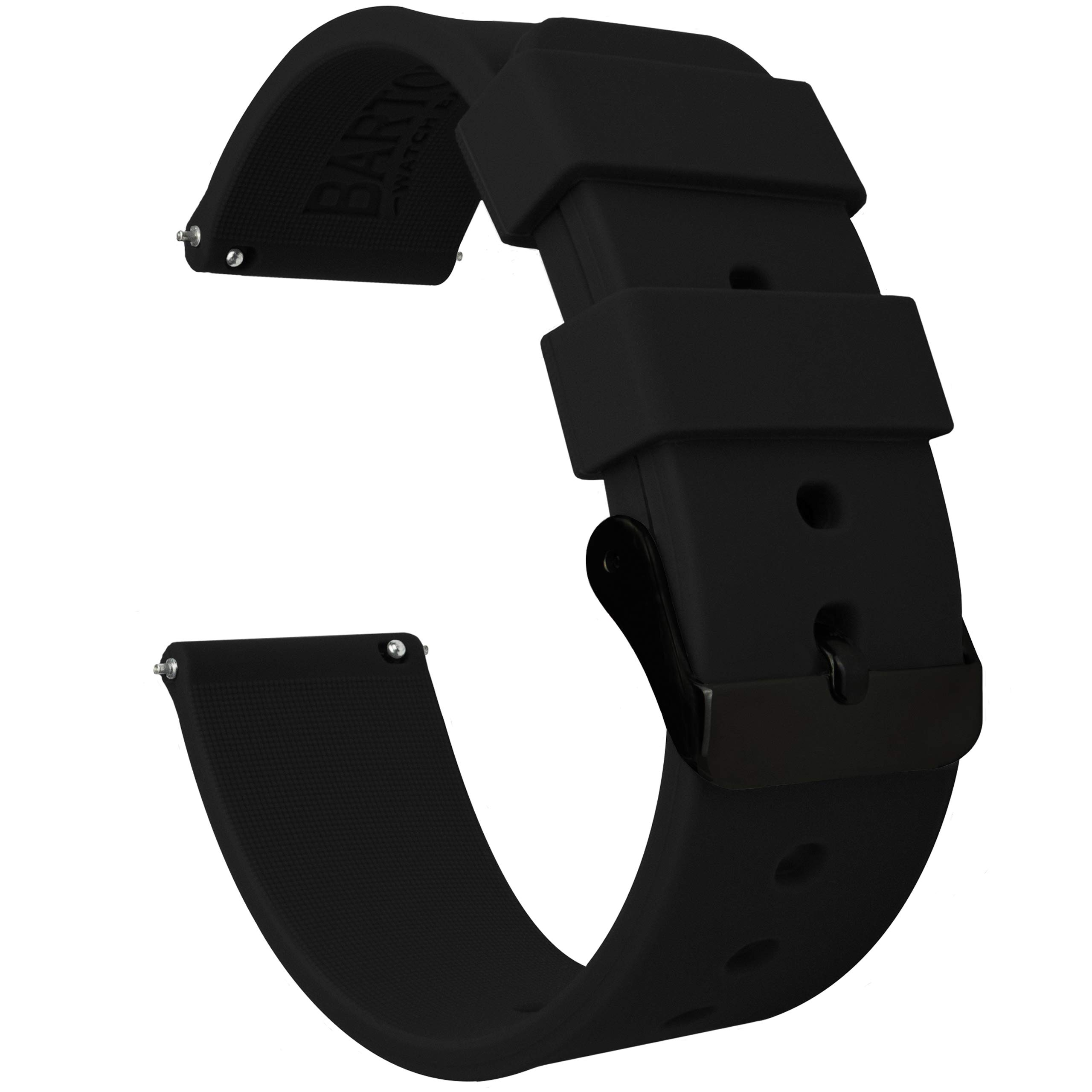 Barton Silicone - Black Buckle - 16mm, 18mm, 20mm, 22mm or 24mm - Black 22mm Watch Band Strap by Barton Watch Bands