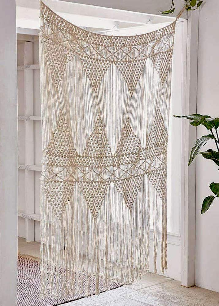 "Flber Macrame Curtain Large Wall Hanging Bohemian Wedding Decor, 50"" w x 75"" h"