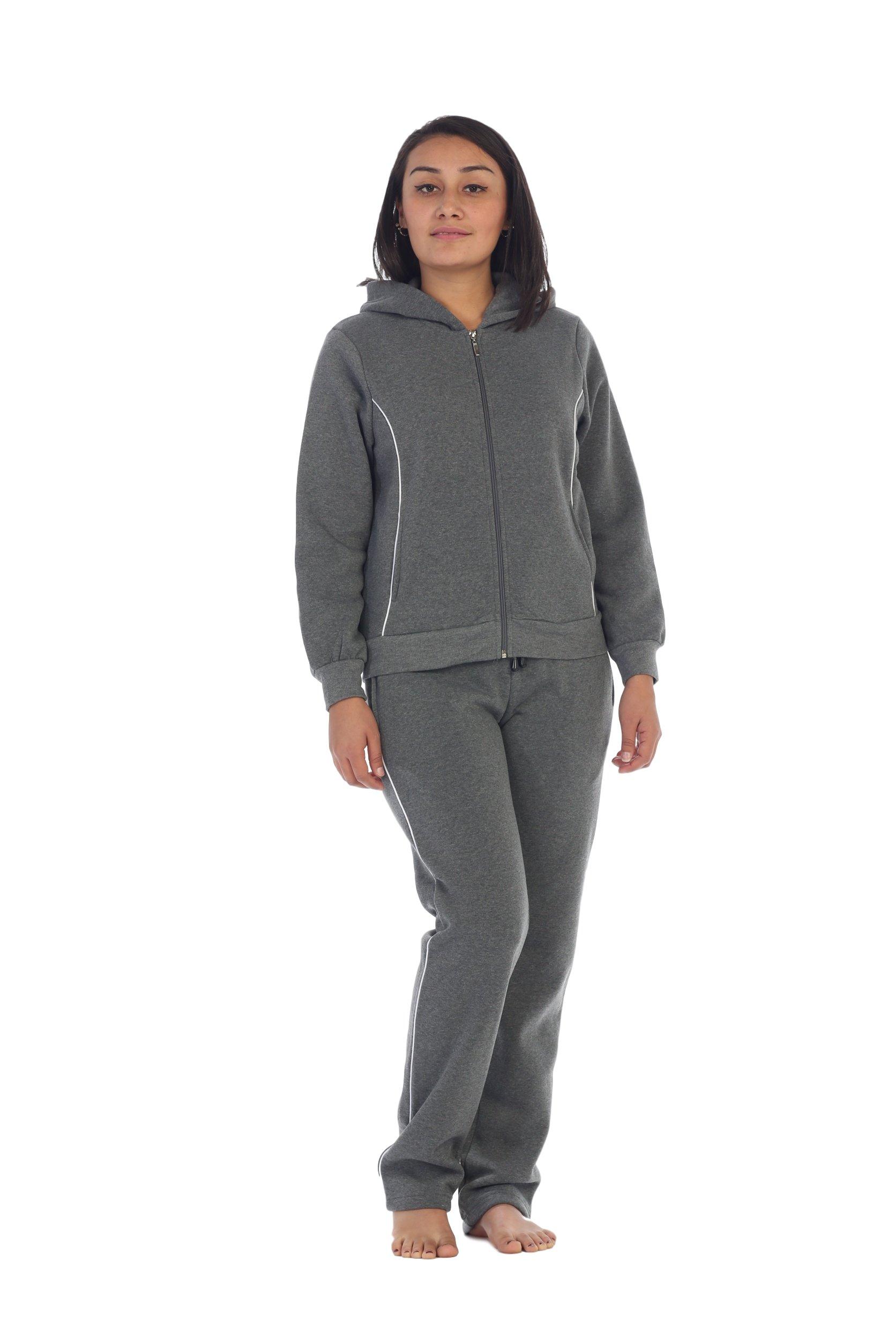 unik Women Fleece Sweatsuit Set, Dark Grey Size Large