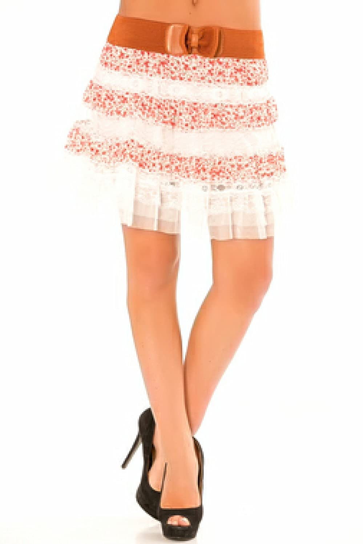falda de volantes con florès blanca y roja con un cinturon: Amazon ...