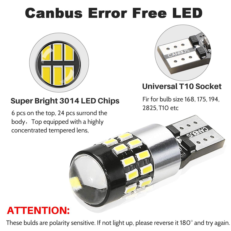 24V 3014 Chipsets LED Veilleuse Canbus Sans Erreur Voiture Lampe,Feu De Stationnement 2pcs POMILE LED Ampoules de Voiture T10 W5W DC12V