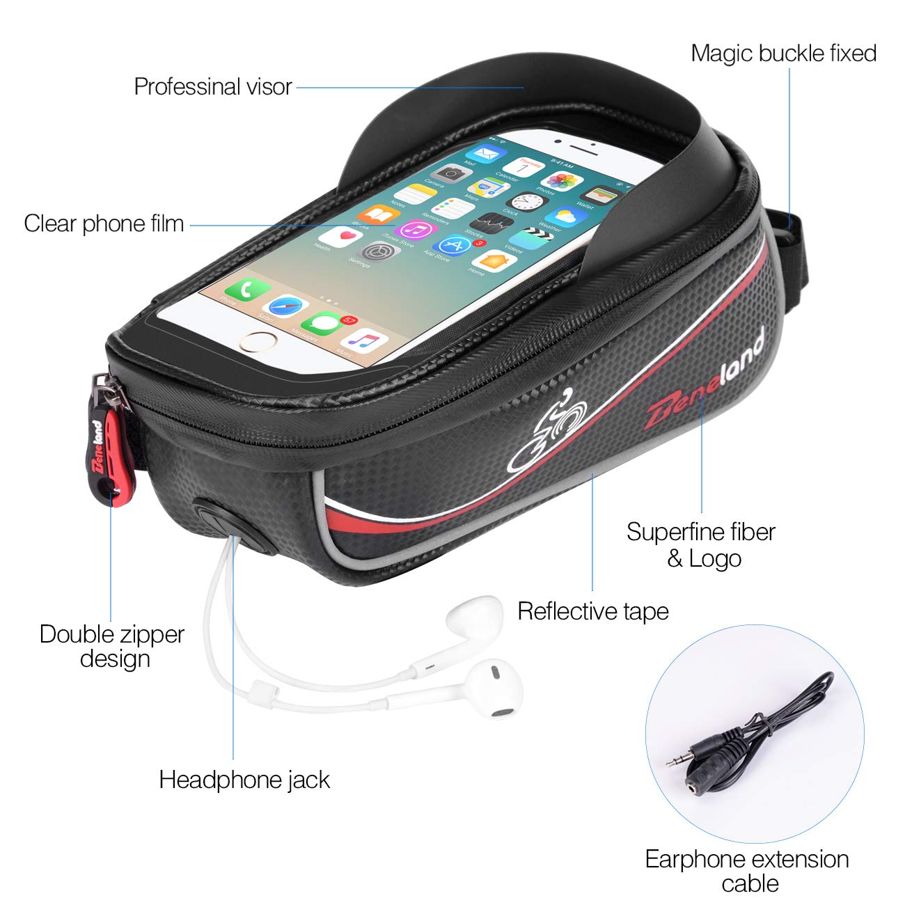Bike Bag, Frame Bike Bag with Waterproof Touch Screen Phone Holder Case for iPhone X 8 7 6s 6 plus 5s 5/Samsung Galaxy s7 s6 note 7 Cellphone Below 6.0 Inch by Beneland (Image #4)