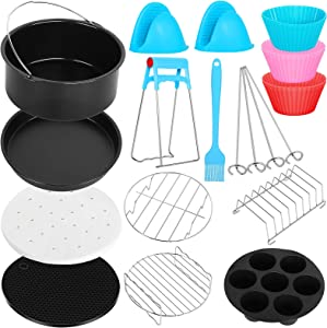 Air Fryer Accessories 12 PCS for Ninja Gowise Gourmia COSORI Ultrean Power XL Air Fryer, Fit 3.6-4.0-6.8QT Air Fryer with 8 Inch Cake Pan, Pizza Pan, Silicone Baking Cup, Skewer Rack, Parchment Paper