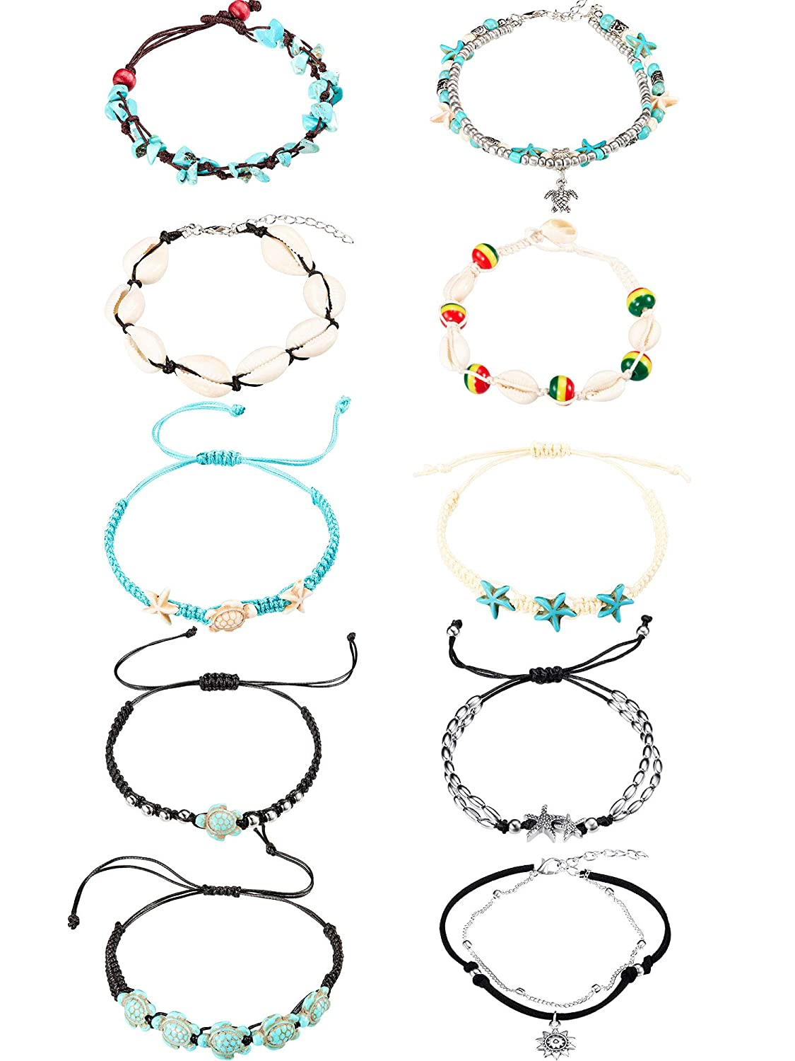 Danigrefinb 3Pcs Bohemia Multiple Layers Turtle Round Pendant Rope Anklets Beach Jewelry Foot Chains Ankle Bracelets