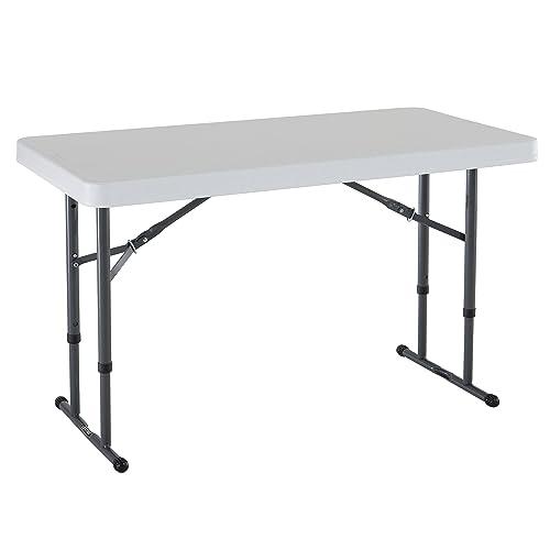 Lifetime 4 ft (1.22 m) Commercial Adjustable Height Folding Table - White