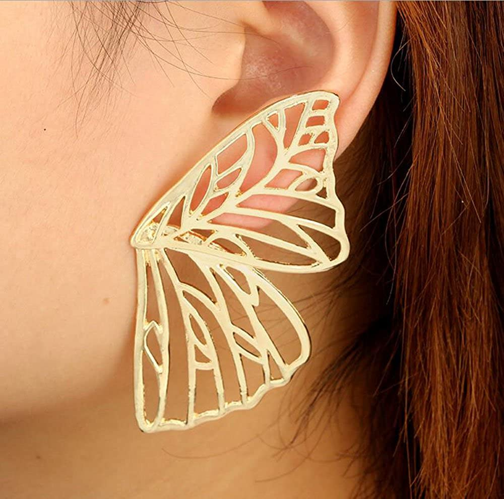 AIEDE Womens Earrings Big Size Gold Butterfly Stud Earrings For Women Girl silver