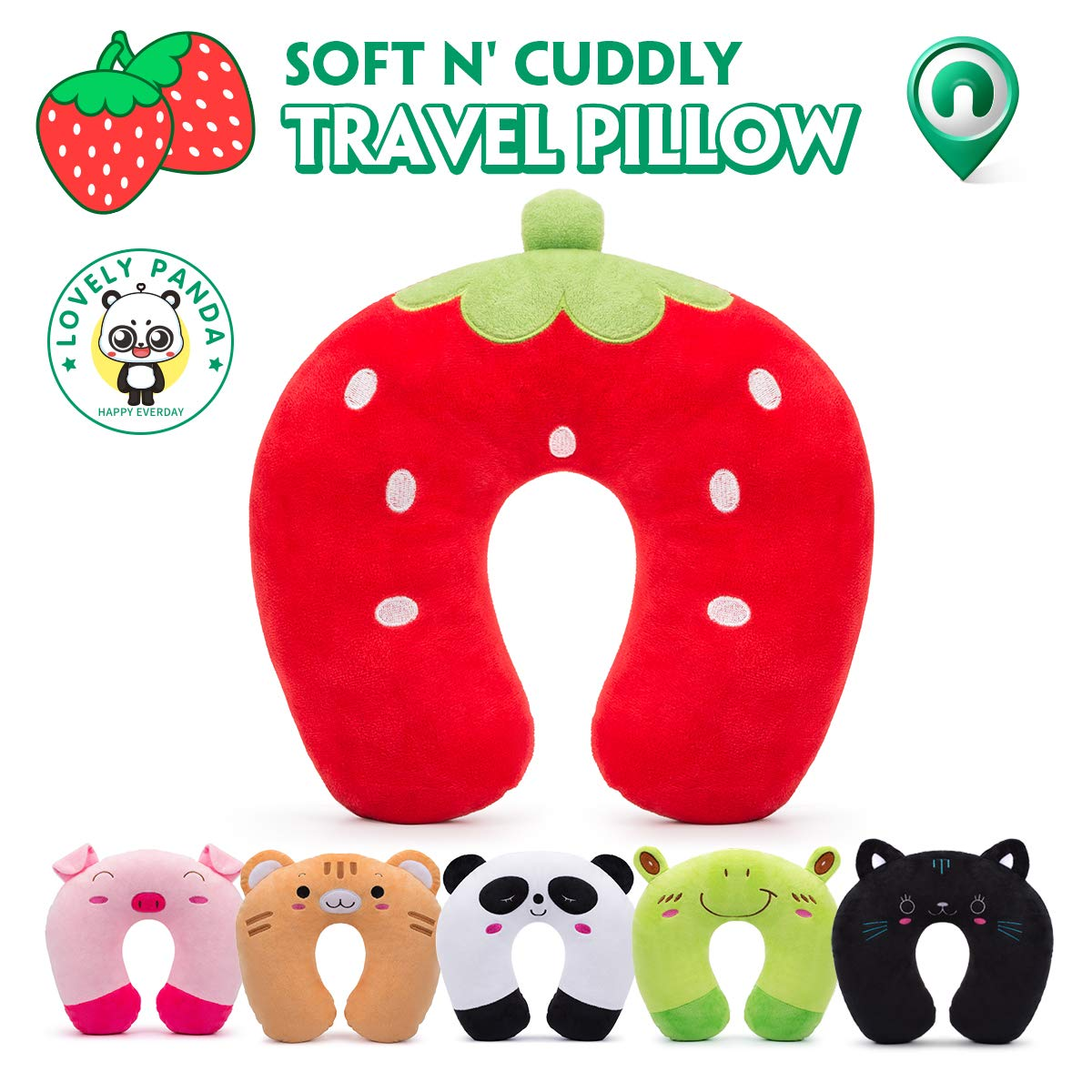 HOMEWINS Travel Pillow for Kids Toddlers - Soft Neck Head Chin Support Pillow, Cute Animal, Comfortable in Any Sitting Position for Airplane, Car, Train, Machine Washable, Children Gifts (Strawberry)