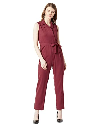00256ee346e Miss Chase Women s Maroon Tie-up Wrap Jumpsuit  Amazon.in  Clothing ...