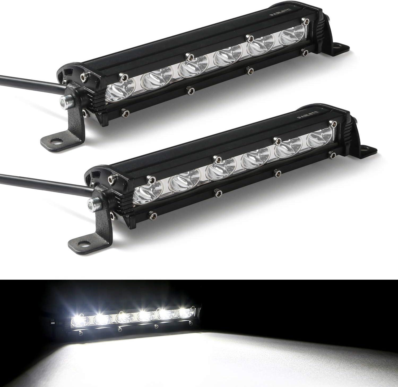 Parleto 7 Inch Super Slim LED Light Bar 18W Flood Beam Off Road Fog Driving Work Lights for Trucks Pack of 2