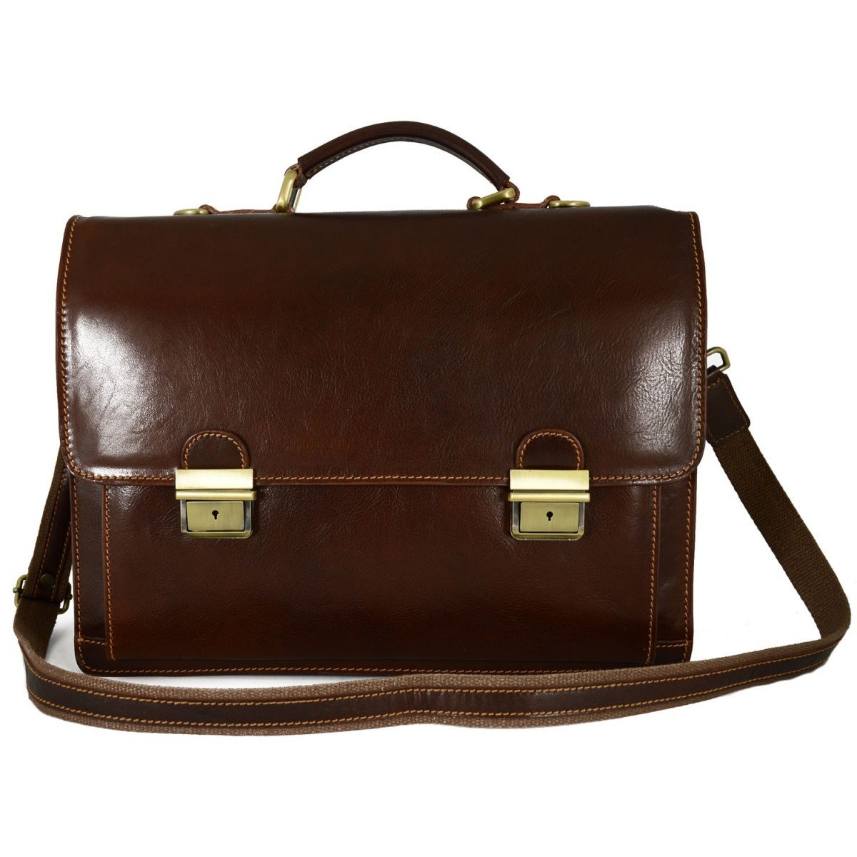Made In Italy Genuine Leather Business Briefcase With 3 Compartments And 2 Buckles Color Brown - Man Bag B01BSZFB8Q