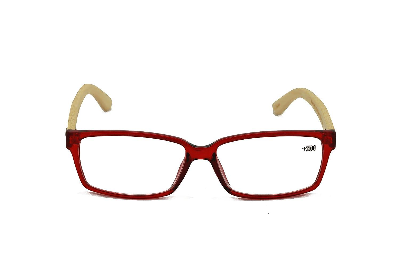 4641ca2f67 Amazon.com  Vision World Genuine Bamboo Rectangular Reading Glasses Men  Women Readers (Black