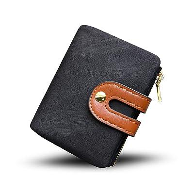 Women's RFID Bifold Leather Small Wallet Ladies Mini Purse