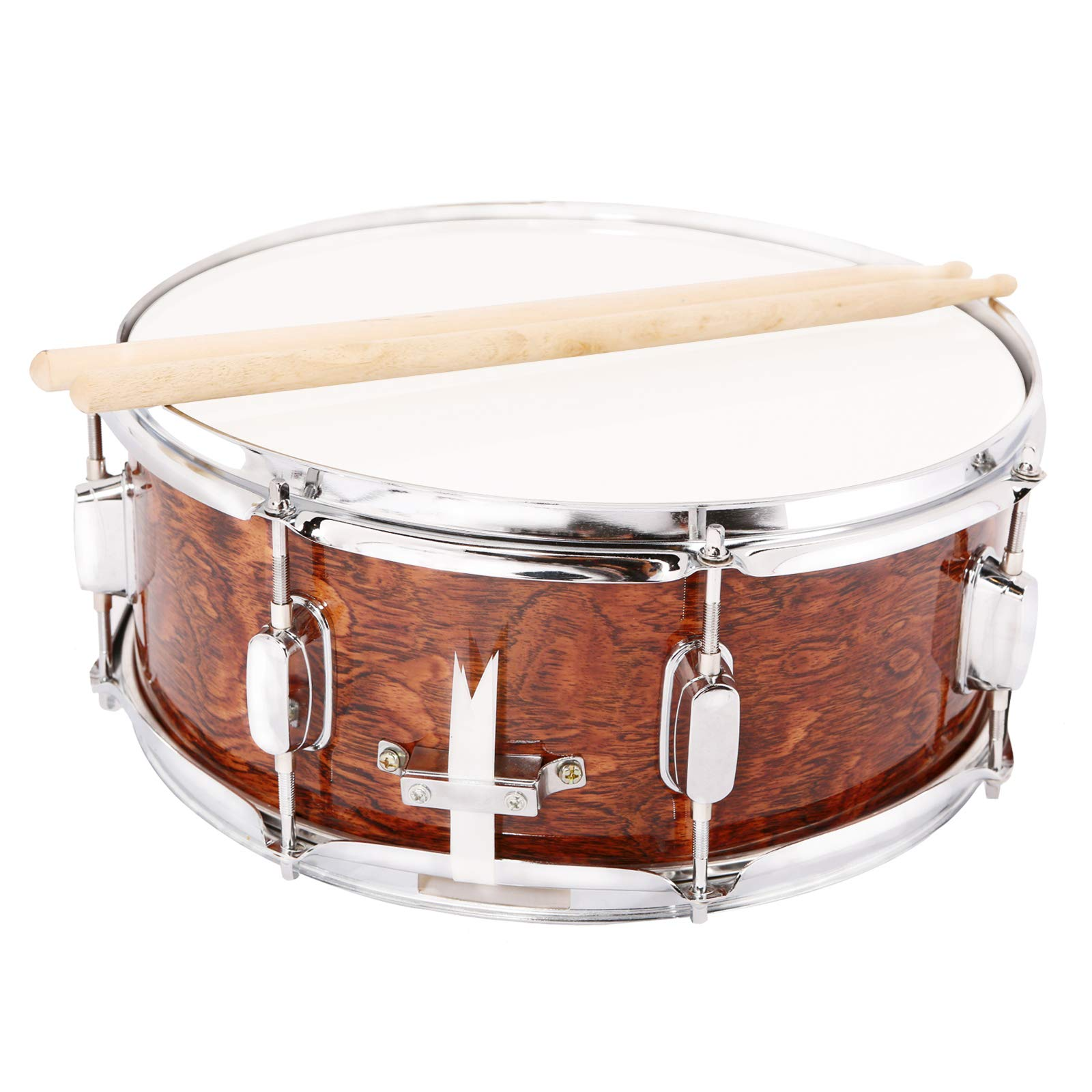 LAGRIMA Student Beginner Snare Drum W/Drum Key, Drumsticks and Strap|14x5.5 inch|Real Wood Shell|8 Metal Tuning Lugs by LAGRIMA (Image #2)