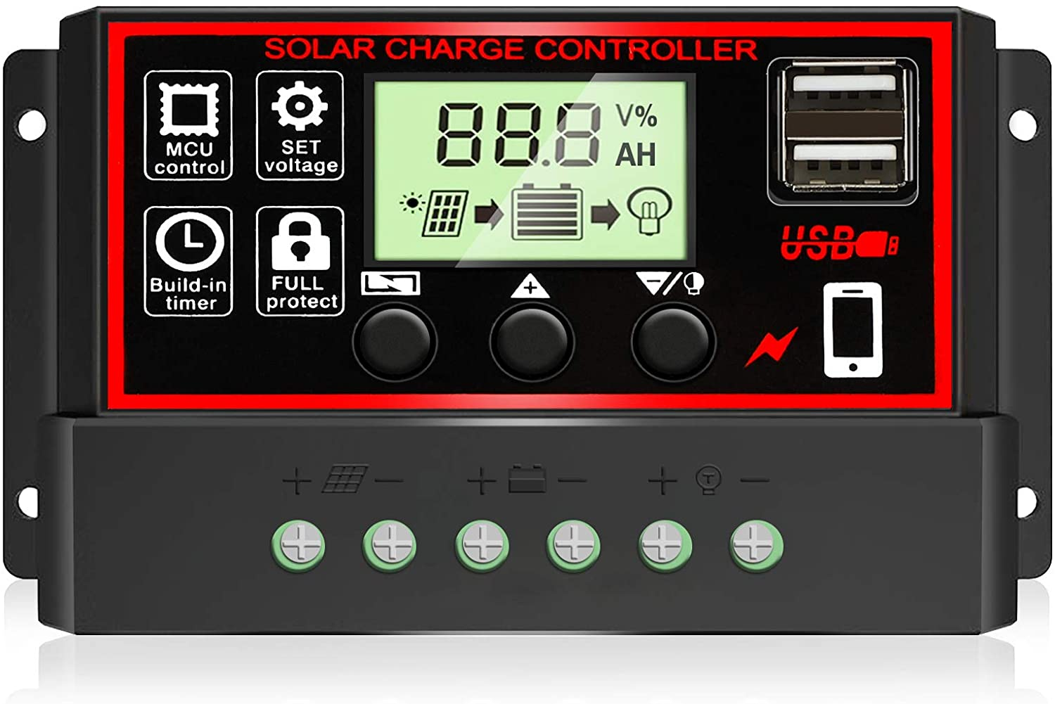 [2020 Upgraded] 30A Solar Charge Controller, Black Solar Panel Battery Intelligent Regulator with Dual USB Port 12V/24V PWM Auto Paremeter Adjustable LCD Display