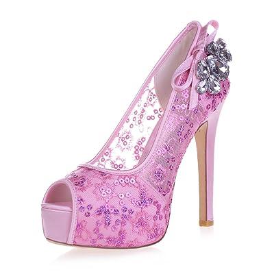 L@YC 3128-35 Tacones altos De Las Mujeres Del Rhinestone Del CordóN Que Mira a Escondidas La Bomba Del Dedo Del Pie Zapatos Nupciales Del SatéN
