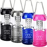 LED Lantern - Camping Lantern Camping Equipment Gear - Camping Lights for Hiking, Emergencies, Hurricanes, Outages, Storms (4Pack Multicolor 30Leds)