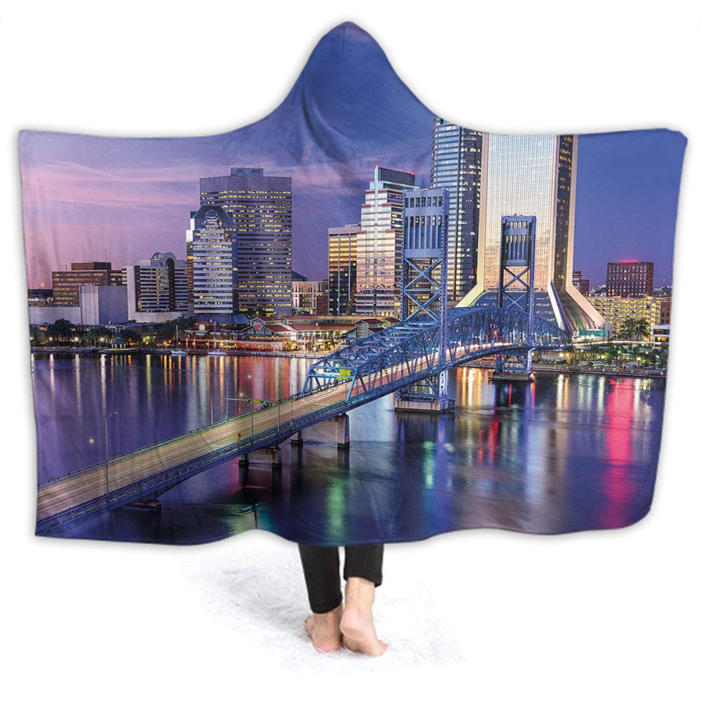 Wearable Hood Throw Blankets Wrap Florida Bridge Children Blanket Gift W50 x L40 Inch