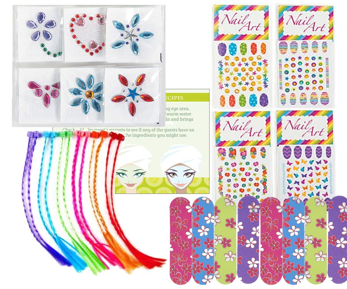 Spa Party Supplies for Girls - MINI Emery Boards (12), Colored Hair Clip Braids (12), Body Jewels (12), Nail Decal Sets (12), Pink Cello Bags (12) and Facial Recipes, Total 61 Pieces