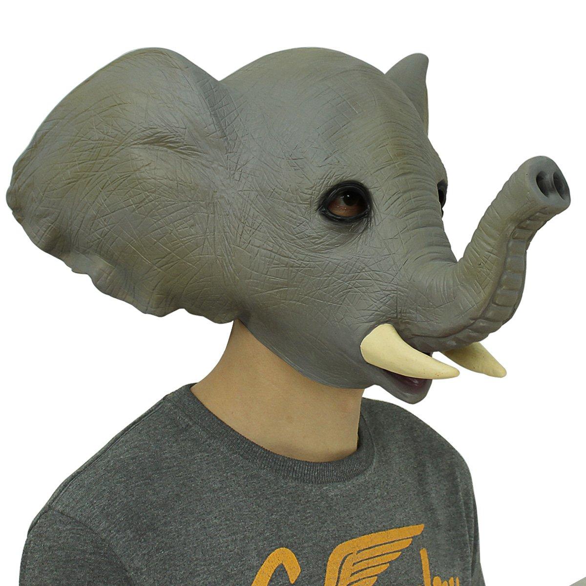 Cusfull Novedad De Lujo De L/átex De Caucho Elefante Espeluznante M/áscara De Decoraciones De Fiesta De Disfraces De Halloween