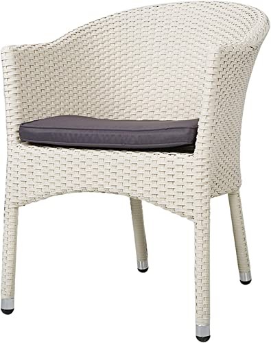 LUCKYERMORE Patio Dining Chairs All Weather Outdoor Garden Lawn Wicker Chair with Soft Cushion, White
