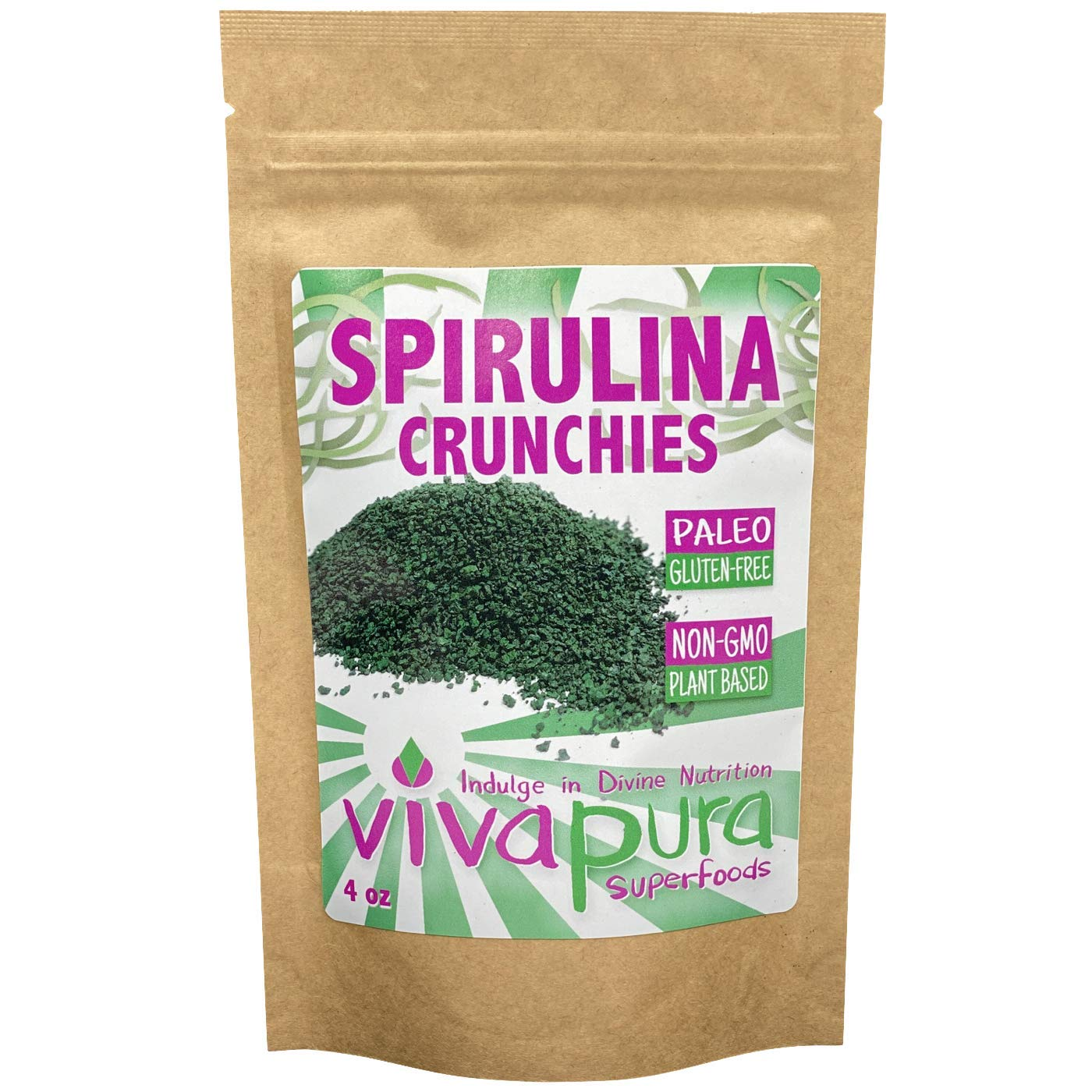 Vivapura Superfoods Spirulina Crunchies, 4 oz - Vegan | Keto | Compostable Bag