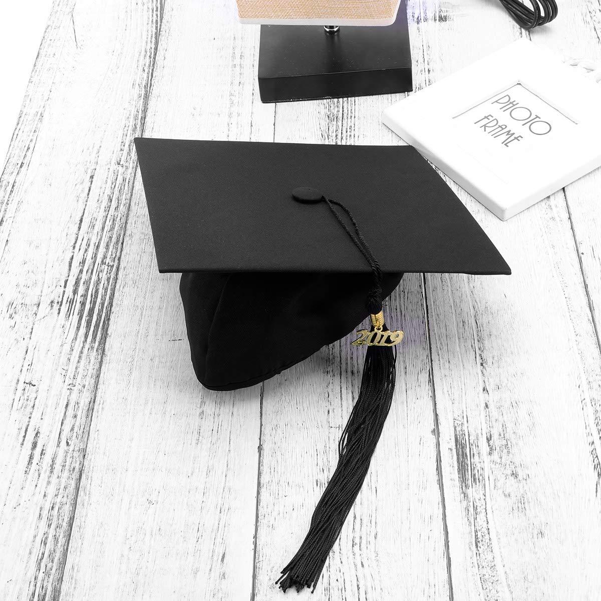 Amosfun Staffelungskappe Hut 2019 einstellbare Erwachsene Student M/örtel Bord Staffelungshut M/ütze Kost/üm Abschlussfeier Foto Requisiten