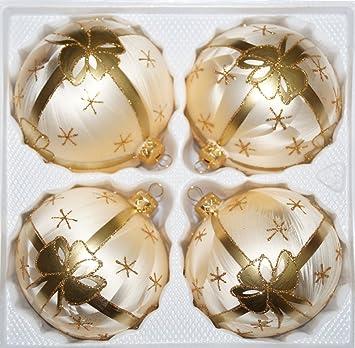 Christbaumkugeln Champagner Glas.4 Tlg Glas Weihnachtskugeln Set 10cm ø In Ice Champagner Goldene