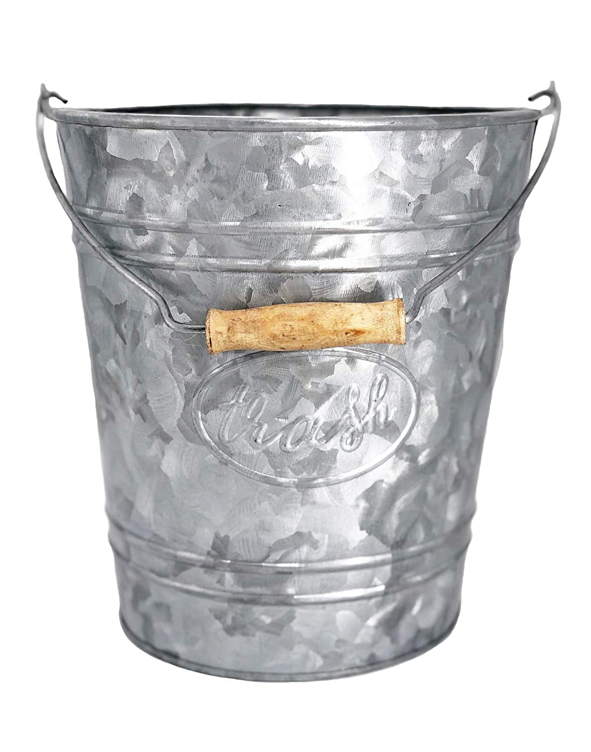 Autumn Alley Galvanized Trash Can | Small Bathroom Waste Basket | Embossed Rings, Oval Label and Turned Wood Handle add Farmhouse Charm | Galvanized Bathroom Accessories