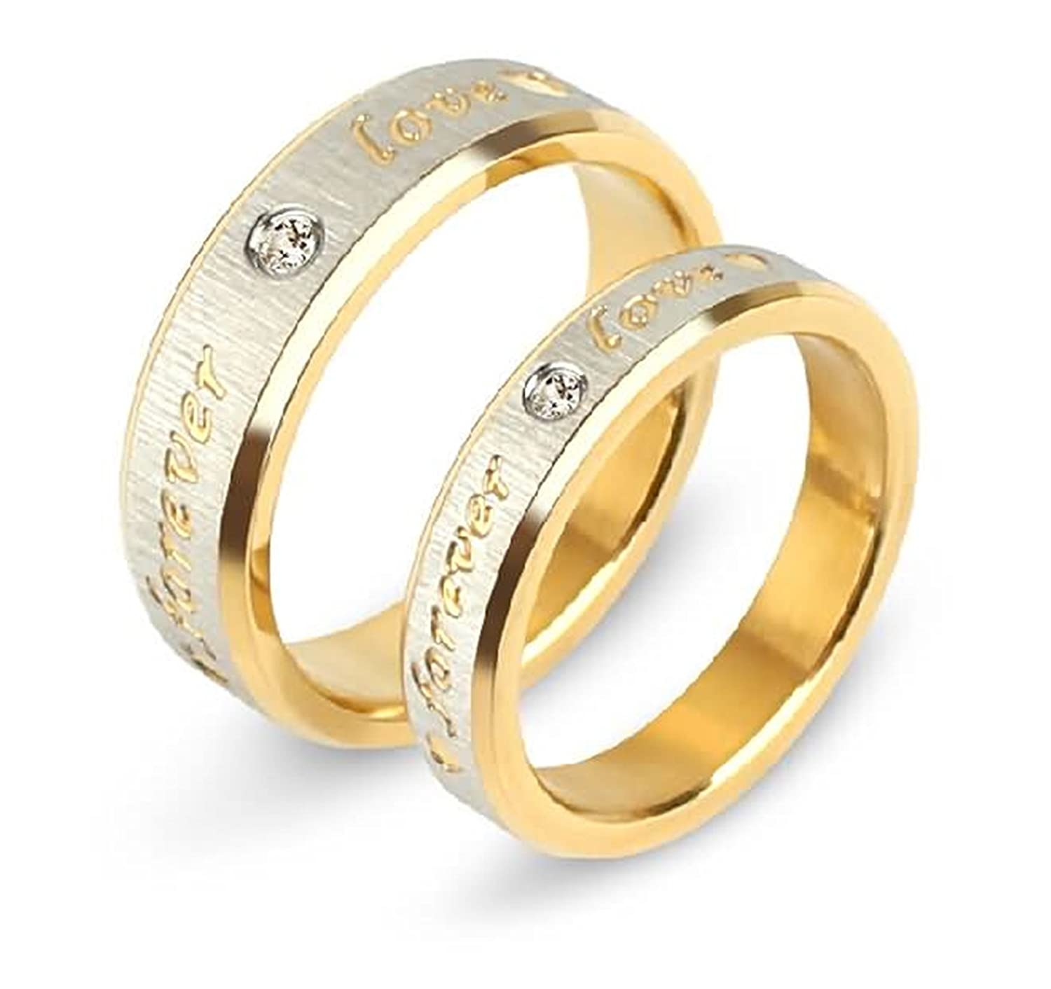 Bishilin 2 PCS Stainless Steel Rings for Couple High Gloss Polished with Engraving