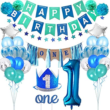 MOGOI Party 1st Birthday Boy Decorations Set, High Chair Decoration- No.1 Crown Hat, Happy Birthday Banner, ONE Cake Topper, Confetti, Foil And Latex Balloons, Star Bunting, Birthday Party Supplies