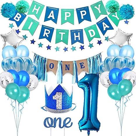 Volwco Juego de adornos para primer cumpleaños para niño, 34 piezas, kit de suministros para fiesta de primer cumpleaños, decoración de tartas, ...