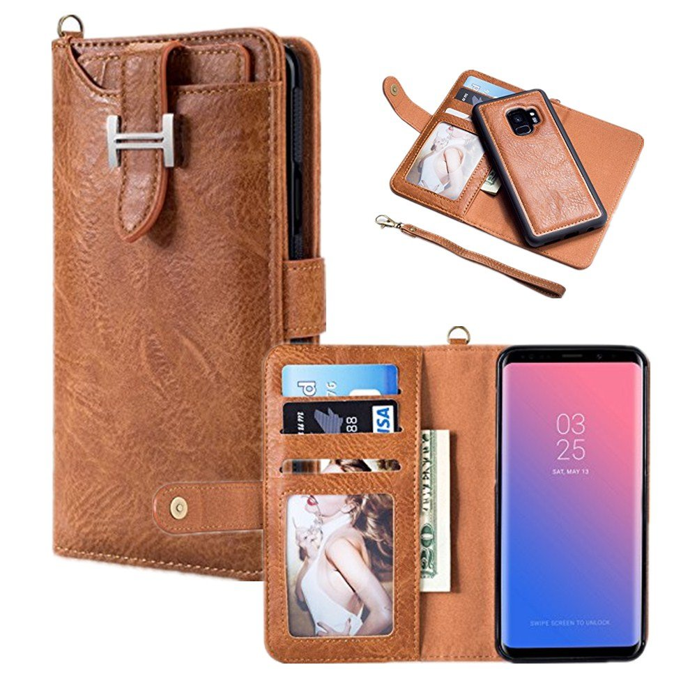 Hulorry Samsung Galaxy S8 Plus Protection Case, Wallet Case PU Leather Protection Case Shockproof Drop Resistant with ID&Credit Card Slots Cover Smart Magnetic Sleeve for Samsung Galaxy S8 Plus