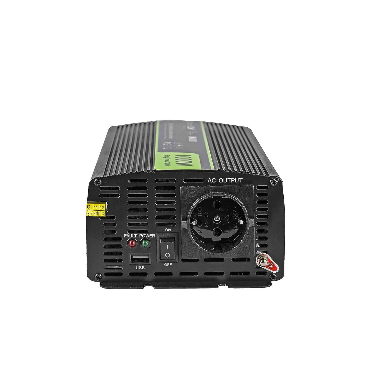 Green Cell/® 300W//600W Reiner Sinus Spannungswandler Wechselrichter 24V auf 230V Konverter Pure Sine Power Inverter f/ür Auto mit USB Direktanschluss an Autobatterie Zigarettenanz/ünder Stecker inkl.