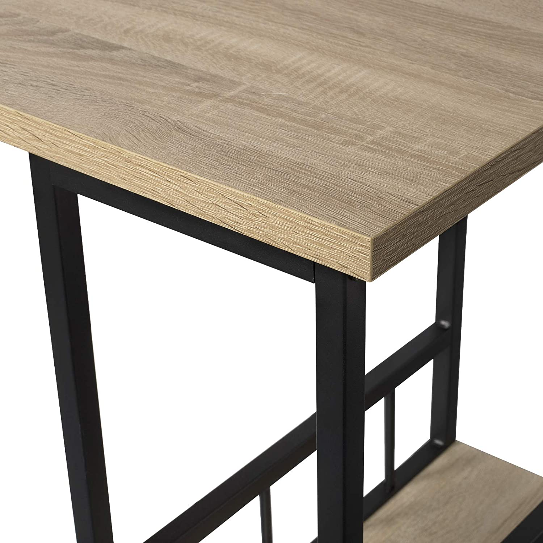 WOLTU BT25dc Tavolo da Bar Alto con Mensole Bancone da Casa in Metallo e Legno Faggio Scuro 20x50x105 cm
