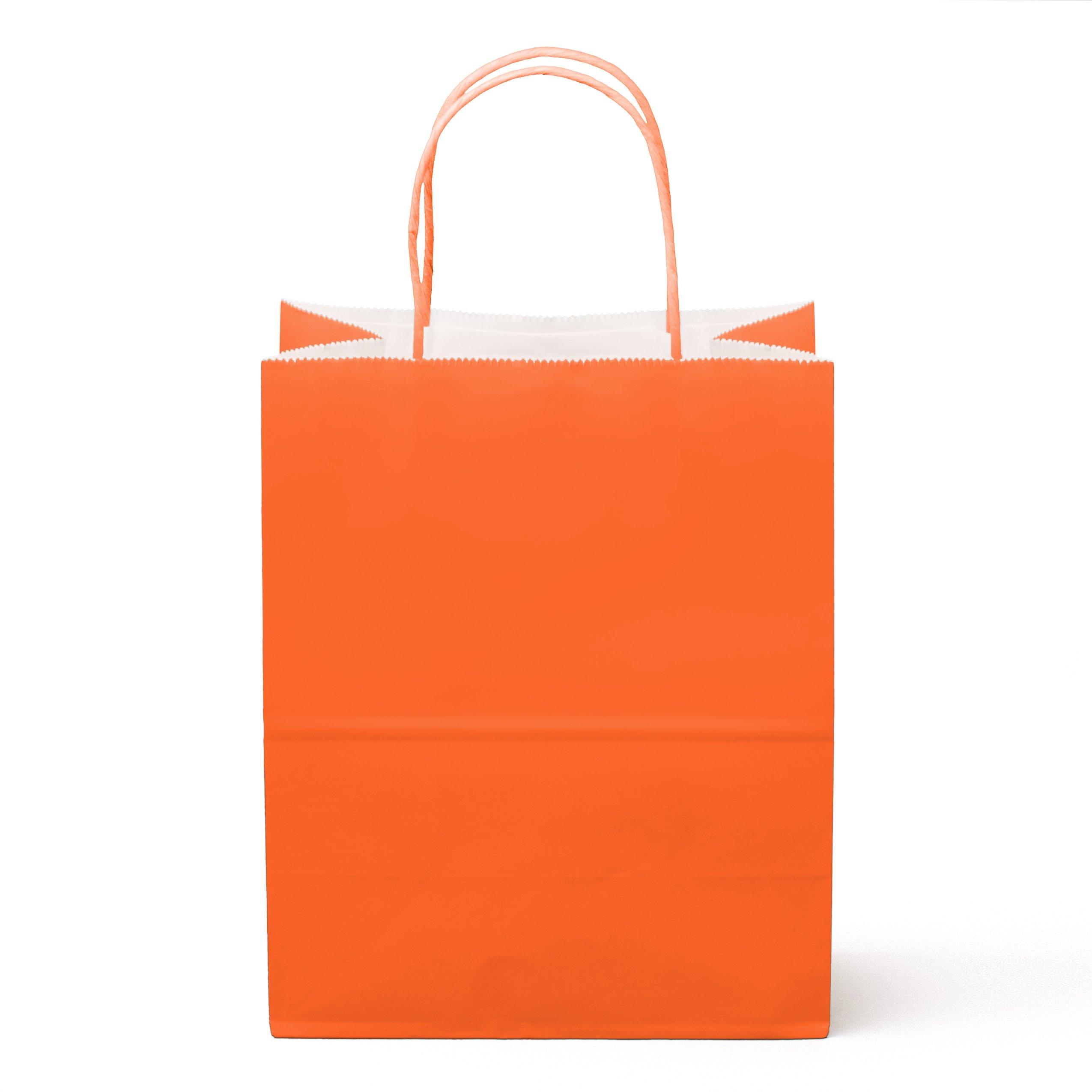 12CT Medium Orange, Food Safe Paper & Ink, Natural Premium Paper (Sturdy, Thicker, & Biodegradable), Vivid Colored Paper Gift Goody Kraft Bag with Colored Sturdy Handle (Medium, Orange)